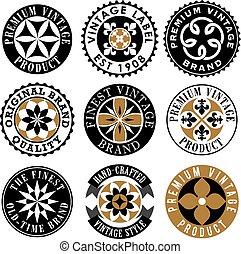 Vintage ornamental labels in vector format