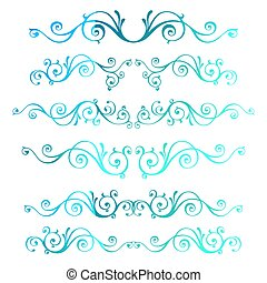 Vintage ornamental vector frames. Blue calligraphic winter New Year theme. Christmas swirl decoration.
