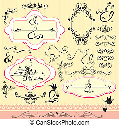 Vintage ornaments and frames, calligraphic design elements...