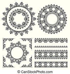 vintage ornaments and frames - vector set