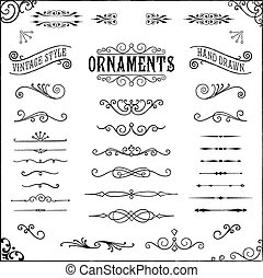 Vintage Ornaments - Collection of hand drawn vintage ...