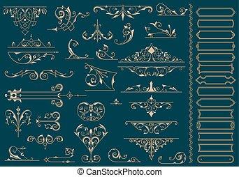 Vintage corner design elements, vector eps10 illustration.