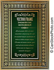 Vintage ornate frame with sample text.