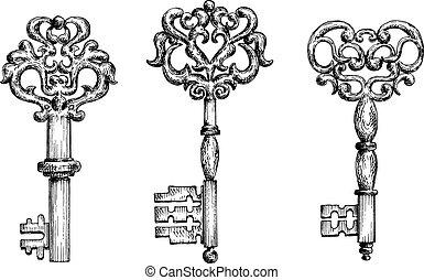 Vintage ornate skeleton keys in sketch style