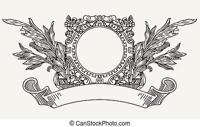Vintage Ornate Wreath A?? Scroll Banner
