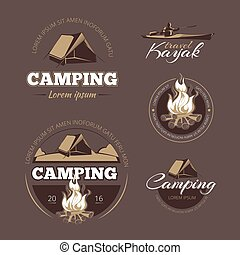 Vintage outdoor adventure and camping vector color labels set