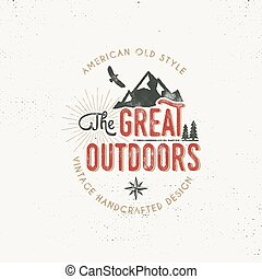 Vintage outdoors label. Retro illustration of . Typography...