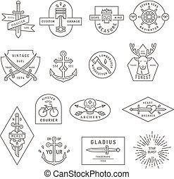 Vintage outline emblem and label design