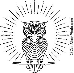 Vintage owl label in line art style. Vector logo or badge