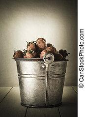 Vintage Pail of Strawberries - Vintage effect zinc metal...
