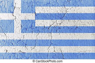 Vintage Paint Greek Flag
