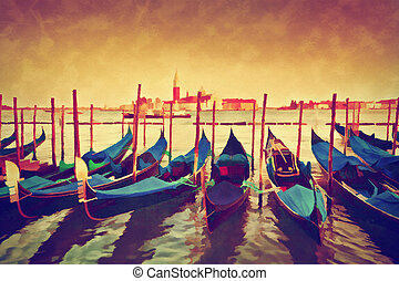 Vintage painting of Venice, Italy. Gondolas on Grand Canal ...