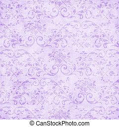 Worn pastel lavender floral tapestry pattern