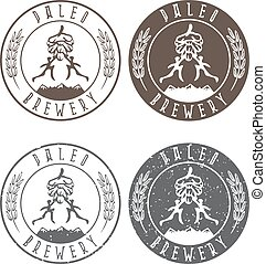 vintage paleo brewery vector labels with hop and ancient hunters