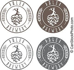 vintage paleo brewery vector labels with hop and ancient...