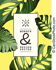 Vintage Palm Tree leaf Frame Background