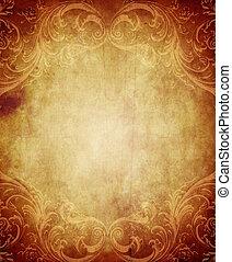Vertical rectangular vintage paper background with grunge and decorative details