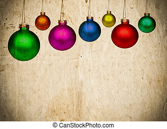 Vintage paper background with colorful Christmas balls