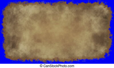 vintage paper burn blue screen