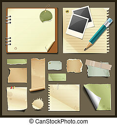 Vintage paper collections design background, Vector ...