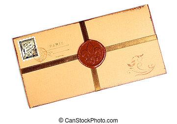 Vintage paper envelope with wax stamp.