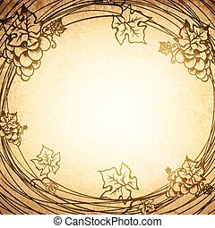 Vintage Paper Grape Round Frame