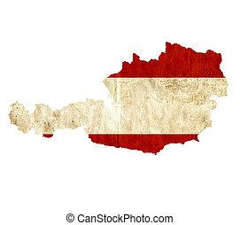 Vintage paper map of Austria