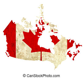 Vintage paper map of Canada