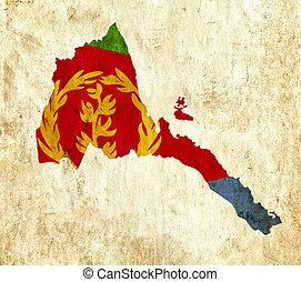Vintage paper map of Eritrea