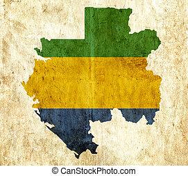 Vintage paper map of Gabon