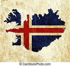 Vintage paper map of Iceland