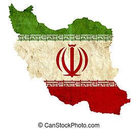 Vintage paper map of Iran