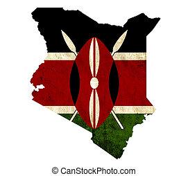 Vintage paper map of Kenya