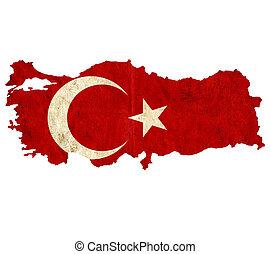 Vintage paper map of Turkey