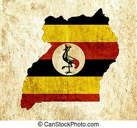Vintage paper map of Uganda