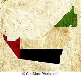 Vintage paper map of United Arab Emirates