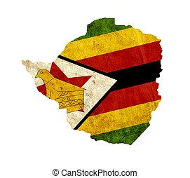 Vintage paper map of Zimbabwe