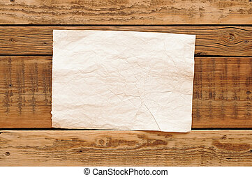 vintage paper on wood wall