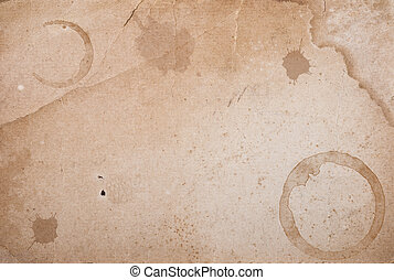 Vintage paper with coffee rings stain. - Vintage paper with...