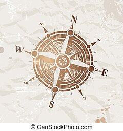 Vintage paper with compass rose - vector illustration
