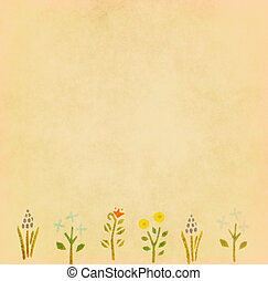 Vintage paper with flower border for greeting card