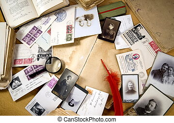 vintage paper with old books, postcards, letters,...
