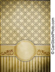 Vintage paper with patterns and decorative border.