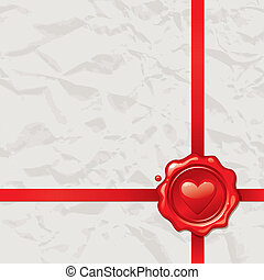 Vintage paper with Valentines wax seal - vector illustration