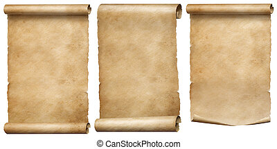 Vintage papers or parchment scrolls set isolated on white