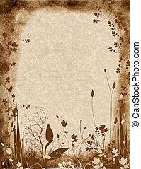 vintage parchment paper with foliage