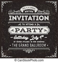 Vintage Party Invitation Card On Chalkboard
