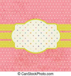 Vintage pastel frame on polka dot background
