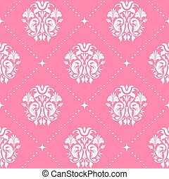 Vintage pattern baroque style in pink color