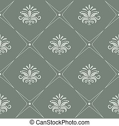 Vintage pattern seamless baroque style in gray color. Vector...
